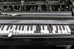 Close-up broken piano keyboard Royalty Free Stock Photography