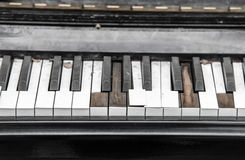 Close-up broken piano keyboard Royalty Free Stock Photo