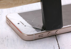 Close up of broken smart phone  on white background and texture of Royalty Free Stock Photography
