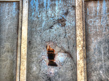 Close up of a broken window in hdr Royalty Free Stock Photo