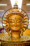 Close up of bronze sculpture of Lord Buddha. DELHI, INDIA -DEC 15 2017: Close up of bronze sculpture of Lord Buddha at Indira Gandhi International Airport in stock photos