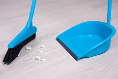 Close up of broom and dustpan Royalty Free Stock Photo