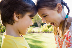 Close up of brother and sister having fun Royalty Free Stock Photography