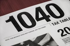 Tax form 1040 close-up on the table royalty free stock photo