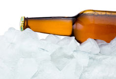 Close-up Brown bottle with Condensation cool in ice isolated Royalty Free Stock Photography