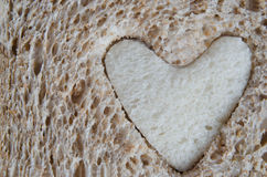 Close up of Brown Bread with White Heart Royalty Free Stock Photos