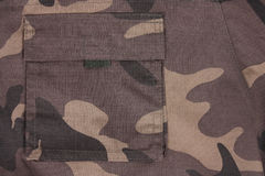 Close-up brown camoflauge pocket (back) Stock Images