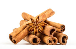 Close up the brown cinnamon stick with star anise spice isolated Stock Images