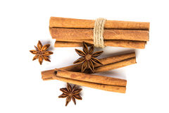 Close up the brown cinnamon stick with star anise spice isolated Royalty Free Stock Image