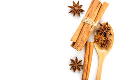 Close up brown cinnamon stick with star anise spice in wooden sp Stock Photos