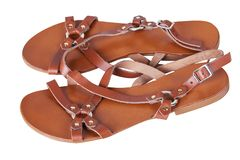 Brown color eco leather sandals stock images