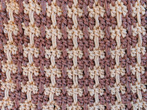 Close up of brown crocheting hand bag. For texture Stock Image