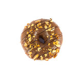 Close up brown donut. On white background Royalty Free Stock Photography