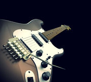 Close up Brown Electric Guitar Musical Royalty Free Stock Image