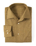 Close up Brown Folded Shirt with Collar Royalty Free Stock Photography