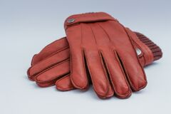 Close up of brown gloves
