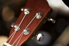 Detail of guitar. Close up of brown guitar Royalty Free Stock Photo