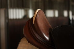 Close up of brown horse saddle Royalty Free Stock Photography