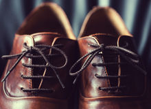 Close up of brown leather men's shoes Royalty Free Stock Photography