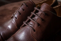 Close up Brown leather men shoe Stock Photo