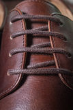 Close up Brown leather men shoe Stock Photos