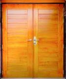 Close up brown modern wooden door Stock Photo
