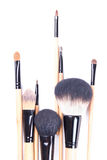 Close up of brown professional make-up brushes over white Stock Images