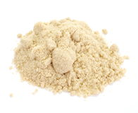 Close up of brown sugar on white background Royalty Free Stock Images