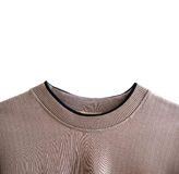 Close-up brown woven curve neck sweater, isolated on white background. Close up brown woven curve neck sweater, isolated on white background Stock Photo