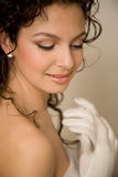 Close-up of a brunette bride Stock Photography