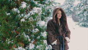 Brunette girl in brown fur coat brushes walking in winter time slow motion. Close-up of Brunette fashionable sexy pretty rich woman in brown fur coat brushes stock footage