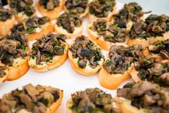 Close up bruschetta with fried mushrooms Royalty Free Stock Images