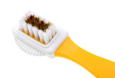 Close-up brush for suede shoes isolated on white Royalty Free Stock Image