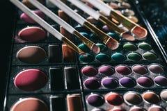 Close up. brushes and eye shadow. isolated on black. Background stock image