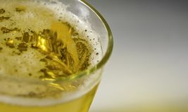 Close up Bubble froth foam of beer in glass or mug for background on top view stock photography