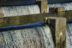 Close up of bubbly weirs on the Holston River in Tennessee. Special built bubbly weirs by the TVA in 1950 provide oxygen for fish on the Holston River a mile royalty free stock image