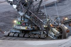 Close-up of a bucket wheel excavator Royalty Free Stock Photos