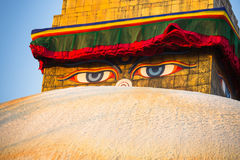 Close-up Buddha Eyes of Bodhnath Stupa in Kathmandu. Nepal. Stock Photos