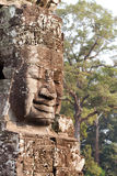 Close up of Buddha head carved in stone Royalty Free Stock Photo