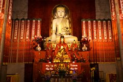 Close-up of Buddhist God statue in the ancient longhua temple. China, Shanghai stock image