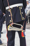 Close up of bugler from behind in uniform Stock Photo