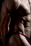 Close-up build muscle bodybuilder. On a dark background Royalty Free Stock Photo