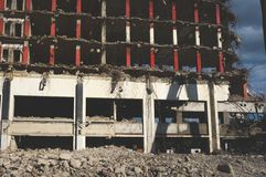 Close-up of a building being demolished royalty free stock image