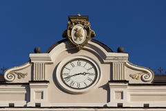 Close up of building with a clock stock images