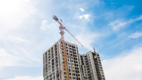 Close up building and cranes under construction Royalty Free Stock Photos