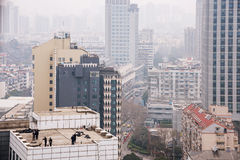 Close up of buildings in smog Stock Photos