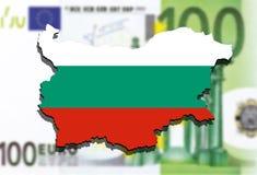 Close up on Bulgaria map on Euro Money background Royalty Free Stock Images