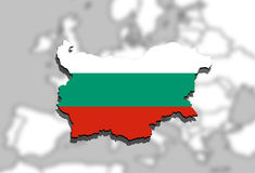 Close up on Bulgaria map on Europen  background Royalty Free Stock Photos