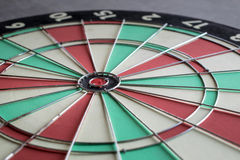 Close up bullseye on dartboard challenge target marketing backgr. Ound concept Royalty Free Stock Images