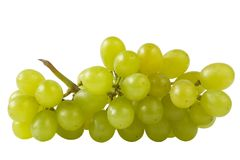 Close-up of a bunch of grapes (path isolated). Bunch of grapes extreme close-up shot isolated over white background (path isolated Royalty Free Stock Photo